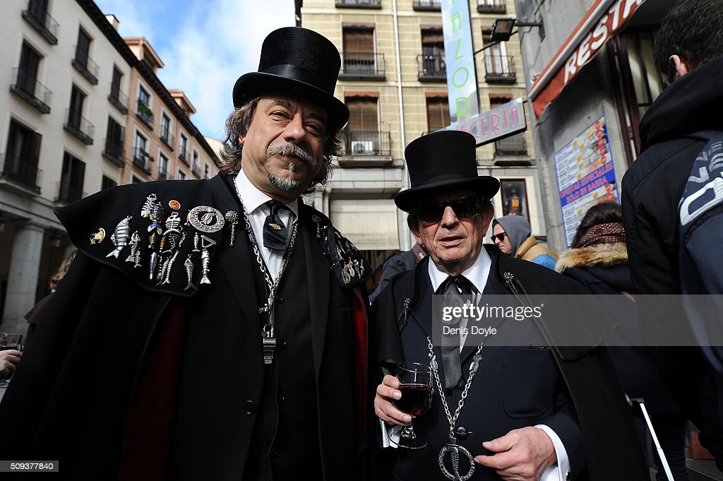 Members of the Brotherhood of the ''Burial of the Sardine'' pose for a portrait during the Burial of the Sardine procession on February 10, 2016 in Madrid, Spain. The Sardine procession is a centuries-old Spanish tradition made famous by a painting by Spanish artist Francisco de Goya called 'El Entierro de La Sardina'. The mourners hold a mock funeral procession mourning the end of Carnival through the heart of old 'Castizo' Madrid visiting and enjoying the wines and tapas of local taverns.
