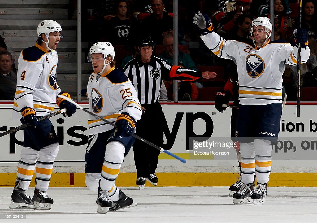 Members of the Buffalo Sabres celebrate a goal during a game against the Anaheim Ducks at Honda Center on November 8, 2013 in Anaheim, California.