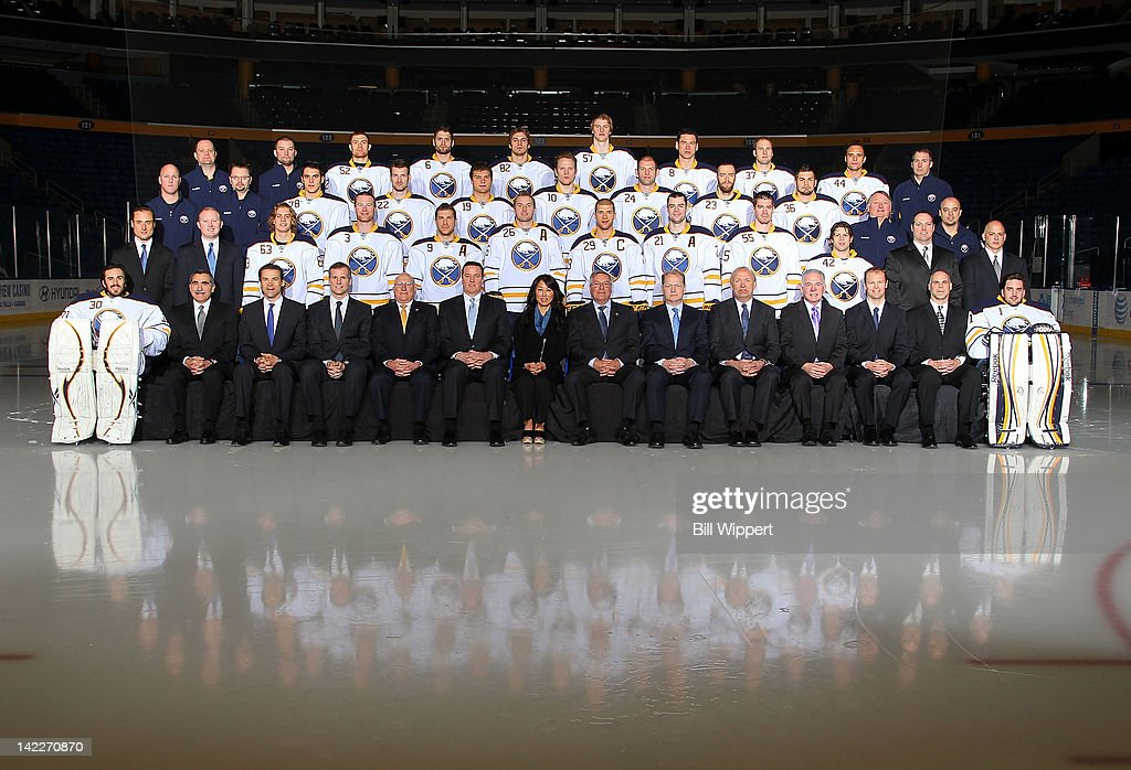 Members of the Buffalo Sabres pose for their official 2011-2012 team photograph at the First Niagara Center on March 29, 2012 in Buffalo, New York.