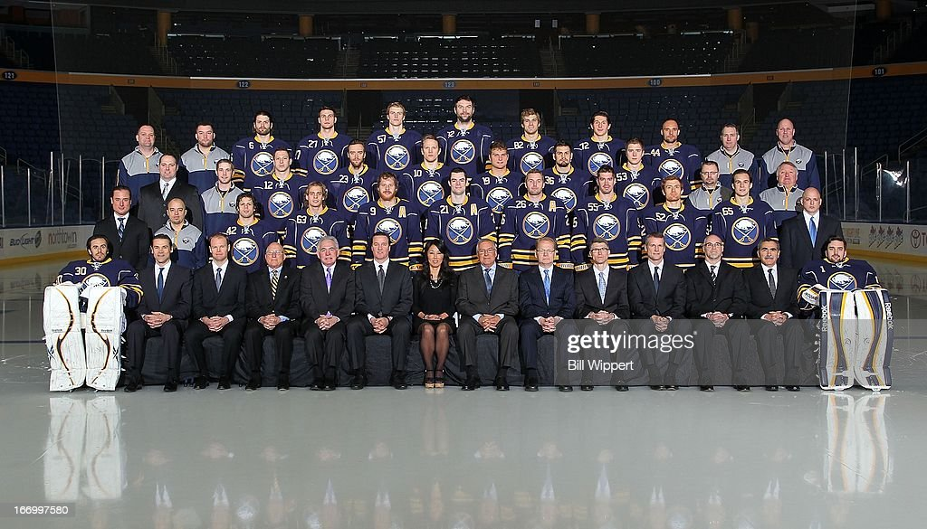 Members of the Buffalo Sabres pose for their official 2012-2013 team photograph on April 12, 2013 at the First Niagara Center in Buffalo, New York.