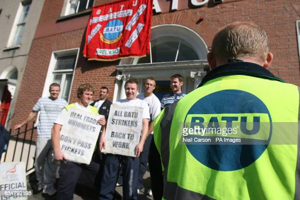 Members of the Building and Allied Trades Union picket their own head office claiming they have no confidence in their current leadership
