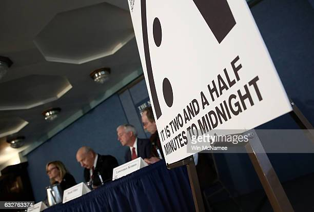 Members of the Bulletin of Atomic Scientists deliver remarks on the 2017 time for the 'Doomsday Clock' January 26 2017 in Washington DC For the first...