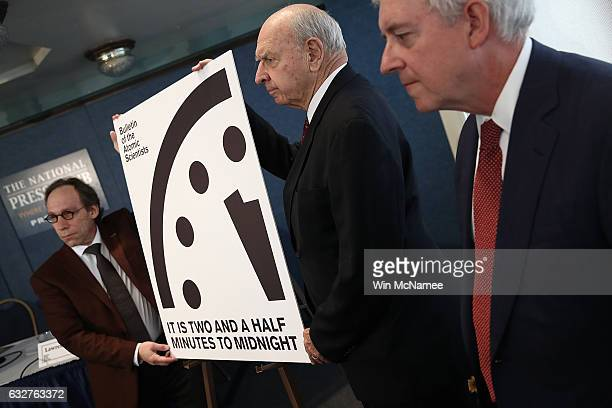 Members of the Bulletin of Atomic Scientists unveil the 2017 time for the 'Doomsday Clock' January 26 2017 in Washington DC For the first time in the...
