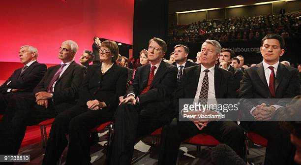 Members of the Cabinet Jack Straw Alistair Darling Harriet Harman Lord Mandelson Alan Johnson and David Miliband listen to Prime Minister Gordon...