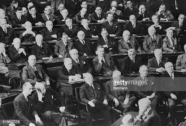 Members of the Cabinet Senate and House of Representatives as they listened intently to the speech by British Prime Minister Winston Churchill in the...
