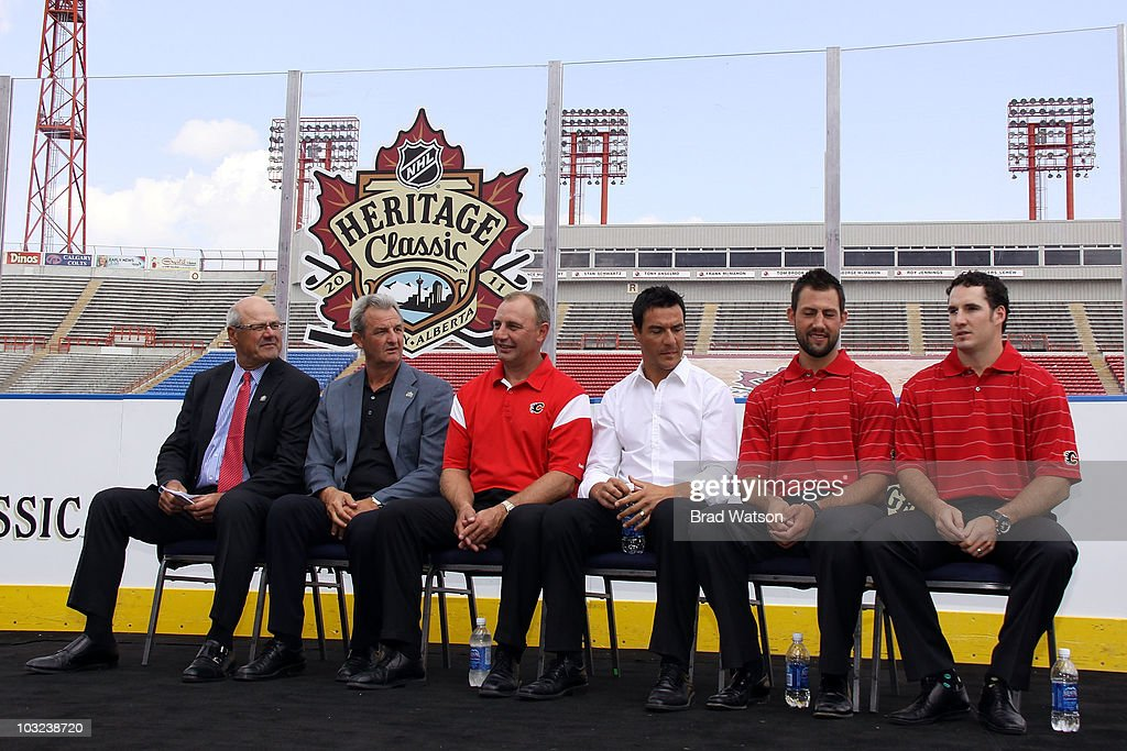 Members of the Calgary Flames are on hand to announce the 2011 NHL Heritage Classic against the Montreal Canadiens at a press conference on August 4, 2010 at McMahon Stadium in Calgary, Alberta, Canada.