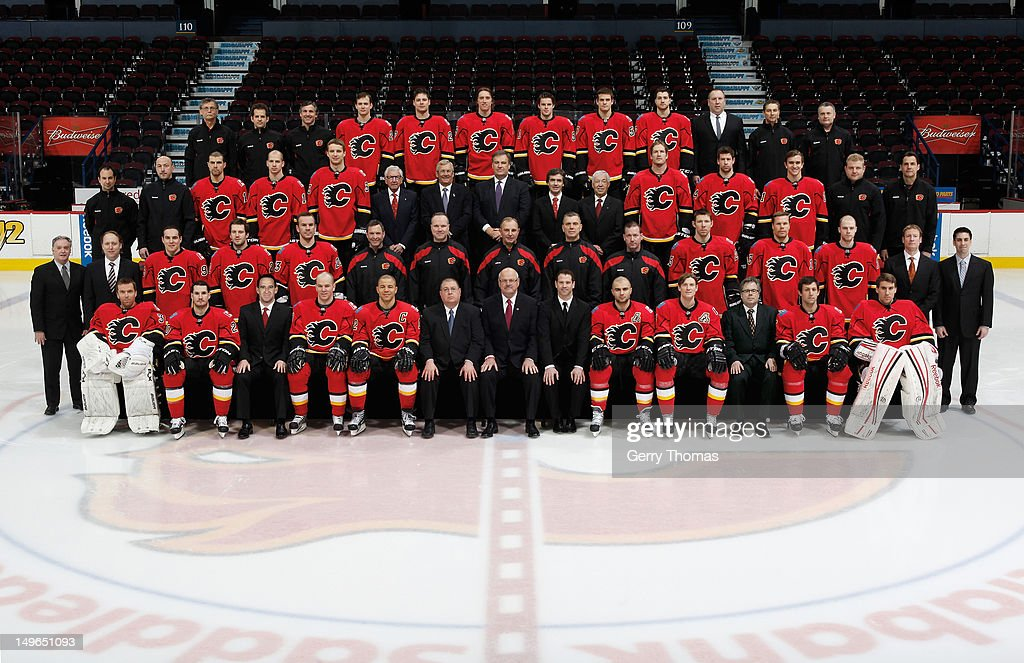 Members of the Calgary Flames pose for the official 2011-2012 team photograph on March 28, 2012 at the Scotiabank Saddledome in Calgary, Alberta, Canada.