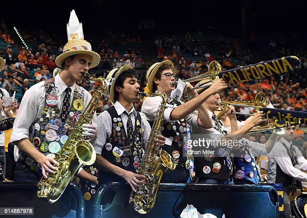 Members of the California Golden Bears band perform during the team's quarterfinal game of the Pac12 Basketball Tournament against the Oregon State...