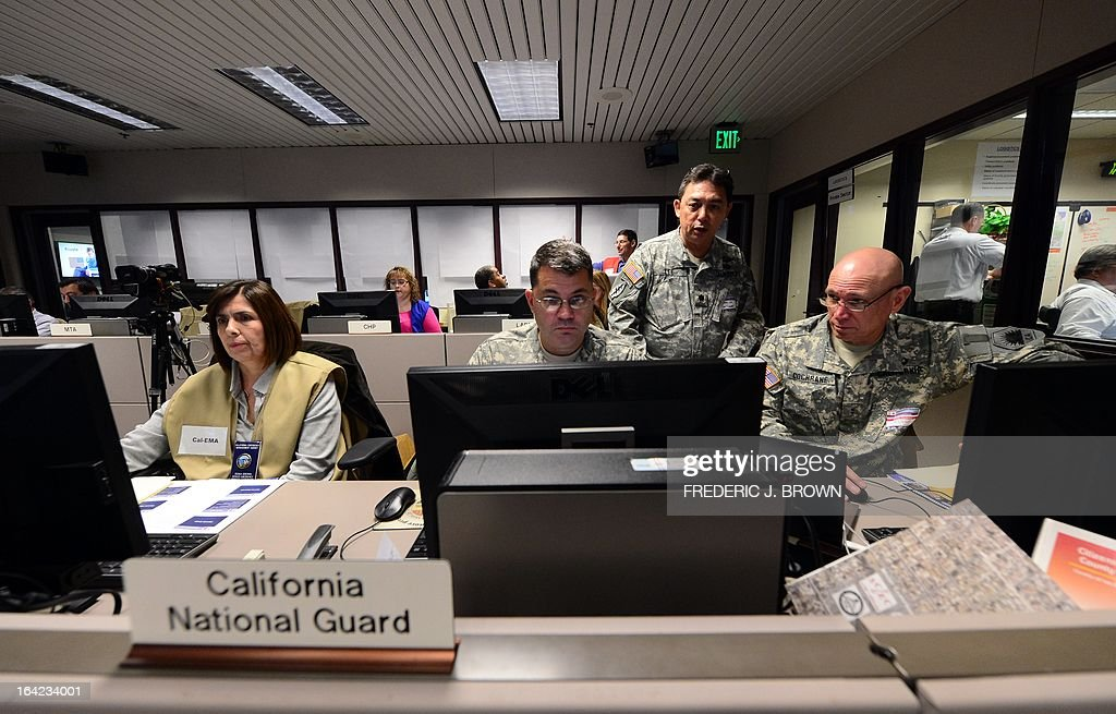 Members of the California National Guard monitor their computer screen at the Command Center of the Office of Emergency Management in Los Angeles, California, during a functional exercise for first responders in a simulated 7.8 magnitude earthquake drill on March 21, 2013. This year's exercise featured the California Integrated Seismic Network's Earthquake Early Warning Demonstration System and participation from 53 City emergency operations centers, including some departments and organizations such as Fire, Water, Coroner, Sheriff and Public Works as well as the American Red Cross and Emergency Network Los Angeles. The functional exercise is a training event designed to test and evaluate selected emergency functions and the interaction of various levels of government, response organizations, volunteer groups, and industry in a simulated environment, usually involving key decision makers, the local emergency operations center and representatives from response and support organizations. AFP PHOTO/Frederic J. BROWN