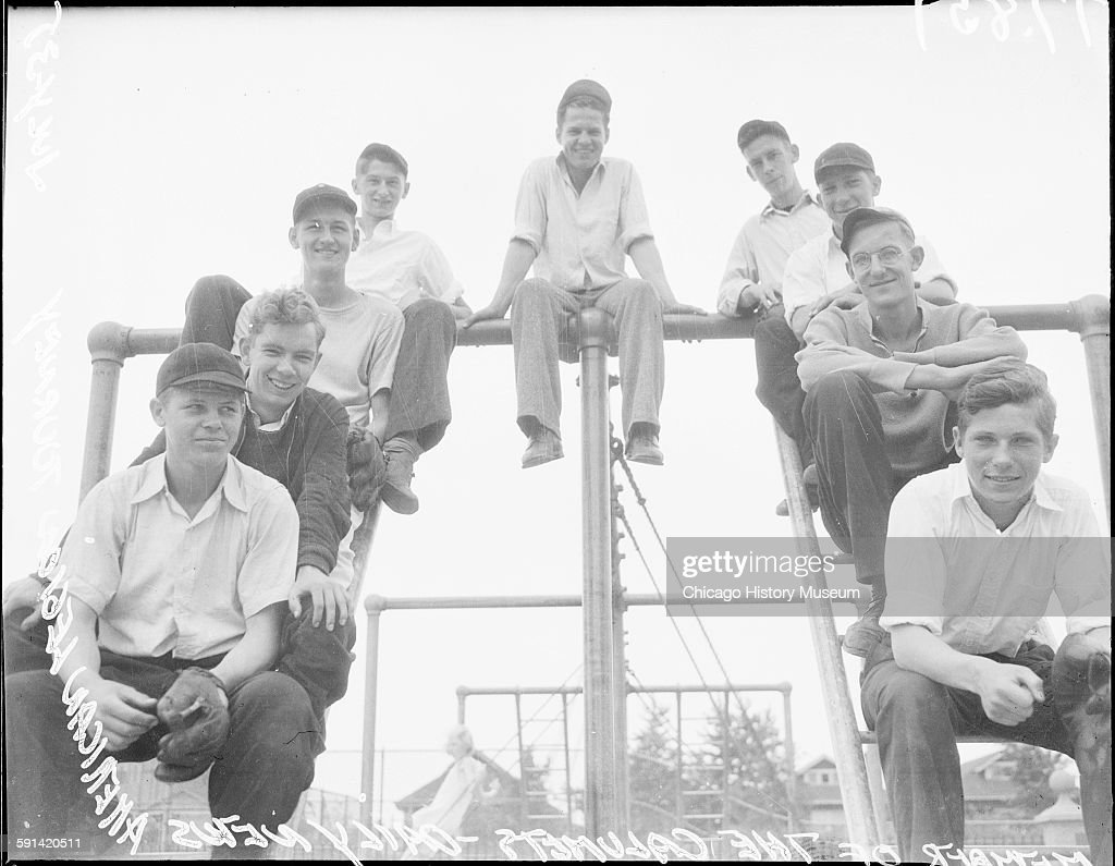 Members of The Calumets a baseball team participating in the Daily News American Legion Junior Tournament Chicago Illinois July 1935 From the Chicago...