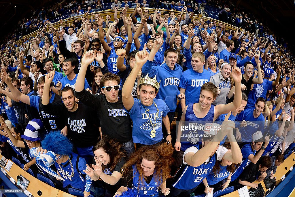 Members of the Cameron Crazies cheer for the Duke Blue Devils during a win over the Georgia Tech Yellow Jackets at Cameron Indoor Stadium on January 17, 2013 in Durham, North Carolina.