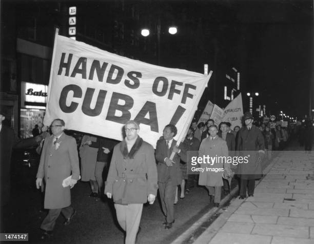 Members of the Campaign for Nuclear Disarmament march during a protest against the US's action over the Cuban missile crisis October 28 1962 in...