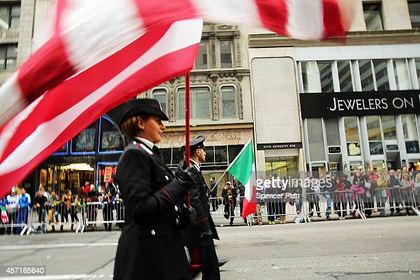 Members of the Carabinieri the national military police of Italy march in the annual Columbus Day parade on October 13 2014 in New York City...