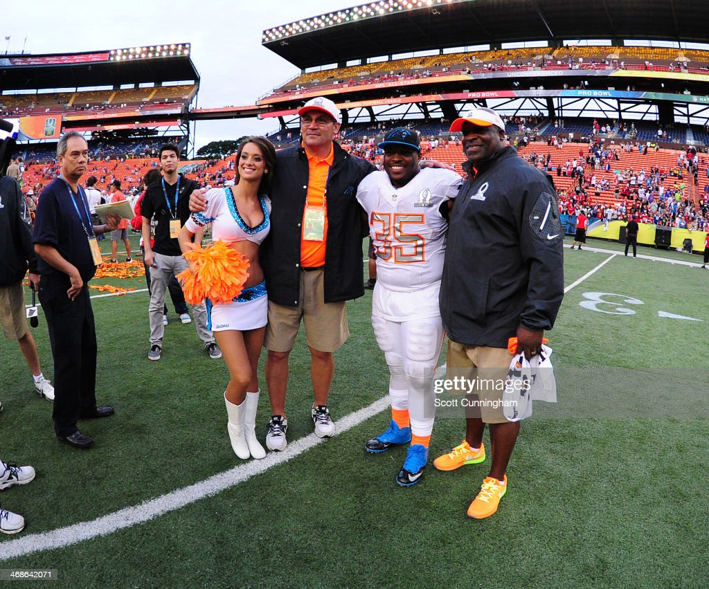 Members of the Carolina Panthers and Team Rice pose for a photograph after the 2014 Pro Bowl at Aloha Stadium on January 26 2014 in Honolulu Hawaii