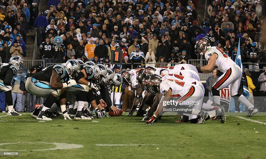 Members of the Carolina Panthers line up to kick against the Tampa Bay Buccaneers at Bank of America Stadium on December 8, 2008 in Charlotte, North Carolina.