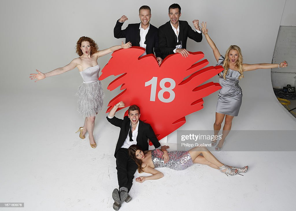 Members of the cast attend the 18th anniversary celebration of the TV-show 'Verbotene Liebe' on April 22, 2013 in Hamburg, Germany.