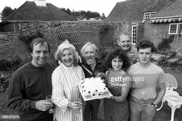 Members of the cast of Britain's longest running radio serial 'The Archers' which is to be brought to the stage for the first time in the village of...