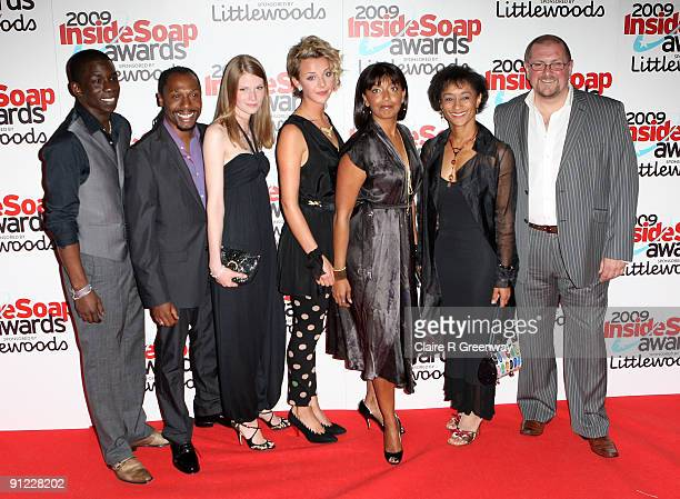 Members of the cast of Casualty including Abdul Salis Tony Marshall Sam Grey Sophia Di Martino and Sunetra Sarker pose in the media room at the...