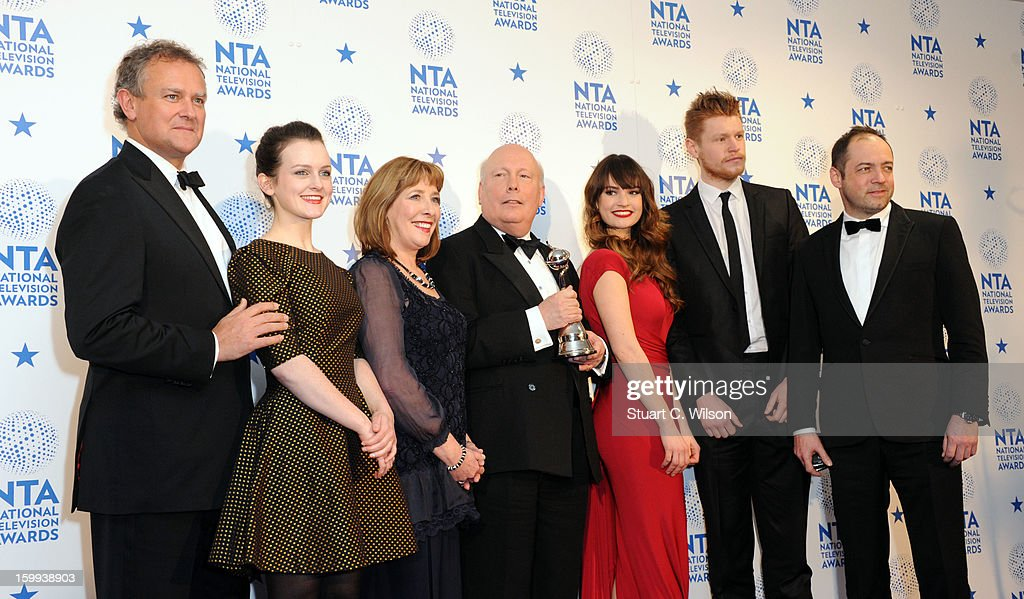 Members of the cast of 'Downton Abbey' pose in the Winners room at the National Television Awards at 02 Arena on January 23, 2013 in London, England.