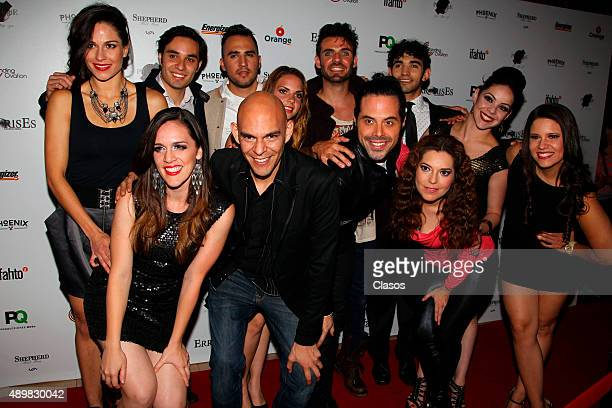 Members of the cast of Pxndx Mexican rock band musical 'ErrorisEs' pose for pictures during the red carpet at Rafael Solana Theatre on Seoptember 25...
