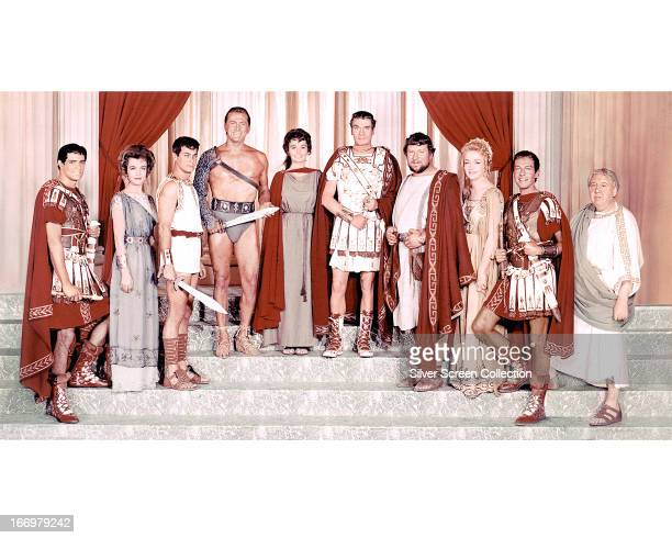 Members of the cast of 'Spartacus' directed by Stanley Kubrick 1960 Left to right John Gavin as Julius Caesar Joanna Barnes as Claudia Marius Tony...