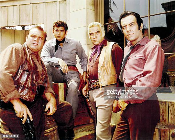 Members of the cast of the TV western series 'Bonanza' circa 1965 Left to right Dan Blocker as Eric 'Hoss' Cartwright Michael Landon as Joseph...