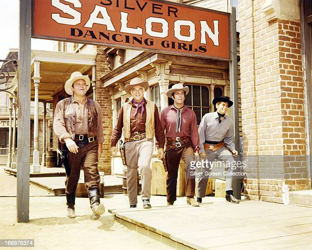 Members of the cast of the TV western series 'Bonanza' circa 1965 Left to right Dan Blocker as Eric 'Hoss' Cartwright Lorne Greene as Ben Cartwright...