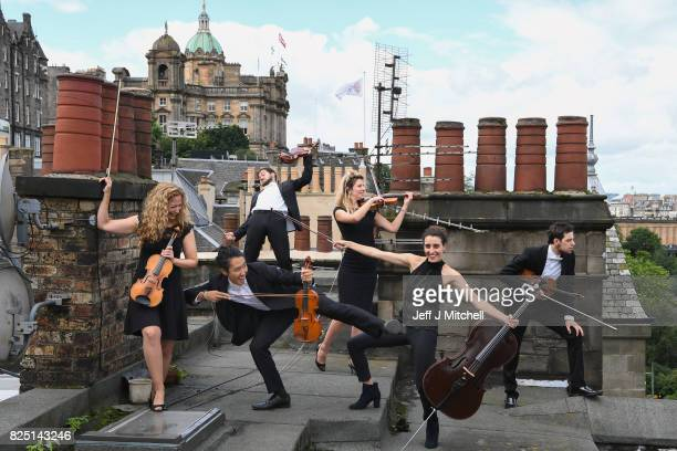 Members of the Catalonian string orchestra Orquestra de Cambra d'Emporda pose on August 1 2017 in Edinburgh Scotland Performing at the Assembly Rooms...