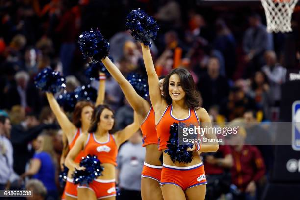 Members of the Cavalier Girls perform during a game against the Oklahoma City Thunder at Quicken Loans Arena on January 29 2017 in Cleveland Ohio...