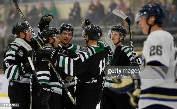 Members of the Cedar Rapids RoughRiders celebrate after a goal during the game against the Sioux Falls Stampede on Day 2 of the USHL Fall Classic at...