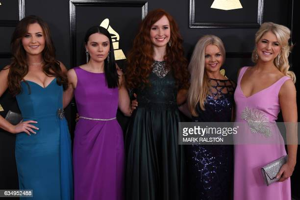Members of the Celtic Women arrive for the 59th Grammy Awards pretelecast on February 12 in Los Angeles California / AFP / Mark RALSTON