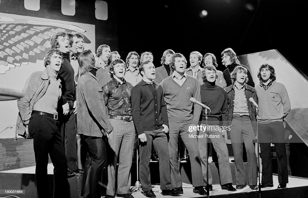 Members of the Chelsea FC football team performing their song 'Blue Is The Colour' on the BBC TV show 'Top Of The Pops', London, 23rd February 1972. The team song was released in the run up to Chelsea's appearance in the League Cup final. Peter Bonetti is in the front row (far left) and also in the front row (from fourth left) are Ron Harris, Peter Osgood and Eddie McCreadie.
