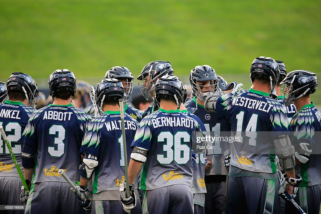 Members of the Chesapeake Bayhawks gather before the start of their game against the against the Charlotte Hounds at NavyMarine Corps Memorial...