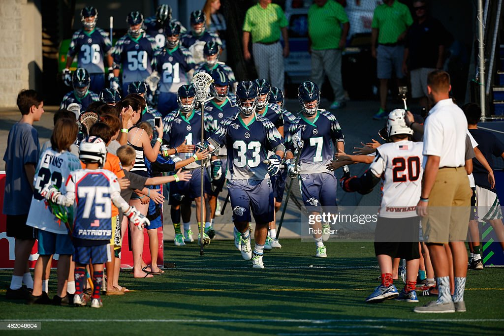 Members of the Chesapeake Bayhawks take the field before the start of their game against the Charlotte Hounds at NavyMarine Corps Memorial Stadium on...