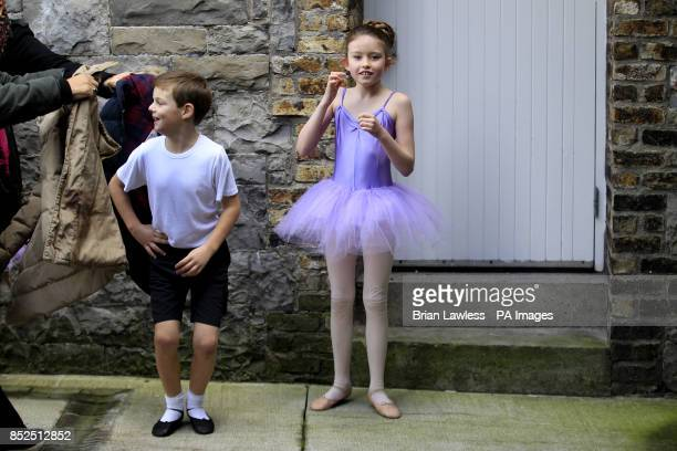 Members of the Chester School of Dance Leah Doherty and Aidan Chester both aged nine are urged to wear their jackets during a demonstration by...