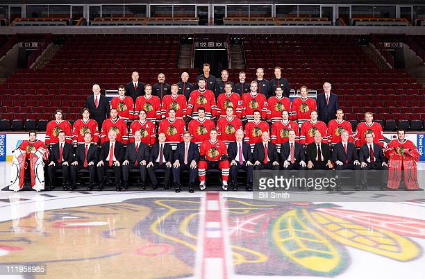 Members of the Chicago Blackhawks pose for the official 20102011 team photograph at the United Center on March 22 2011 at the United Center in...