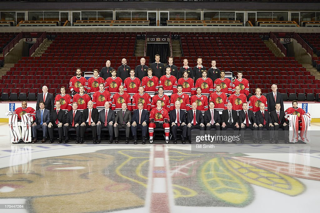 Members of the Chicago Blackhawks pose for the official 2012-2013 team photograph at the United Center on March 28, 2013 in Chicago, Illinois.