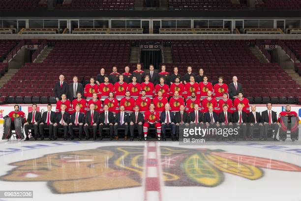 Members of the Chicago Blackhawks pose for the official 20162017 team photograph at the United Center on March 13 2017 in Chicago Illinois
