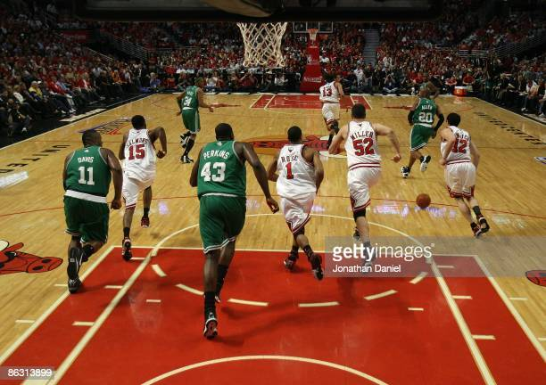 Members of the Chicago Bulls and the Boston Celtics sprint down the court in Game Six of the Eastern Conference Quarterfinals during the 2009 NBA...