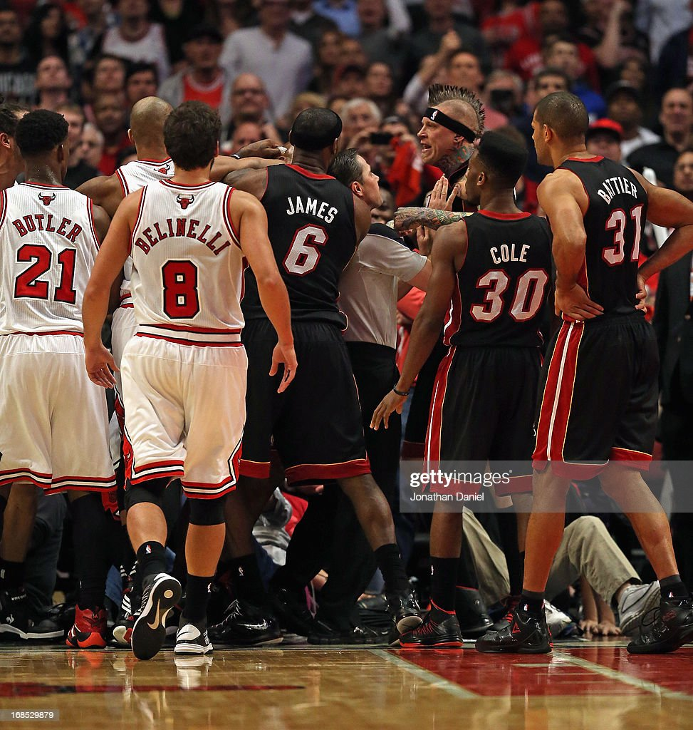 Members of the Chicago Bulls and the Miami Heat get into an altercation in Game Three of the Eastern Conference Semifinals during the 2013 NBA Playoffs at the United Center on May 10, 2013 in Chicago, Illinois.