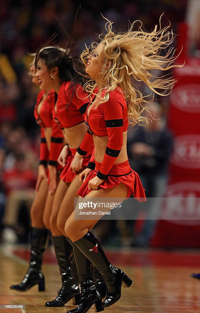 Members of the Chicago Bulls dance team 'The Luvabulls' perform during a game between the Bulls and the Orlando Magic at the United Center on April 5, 2013 in Chicago, Illinois. The Bulls defeated the Magic 87-86.