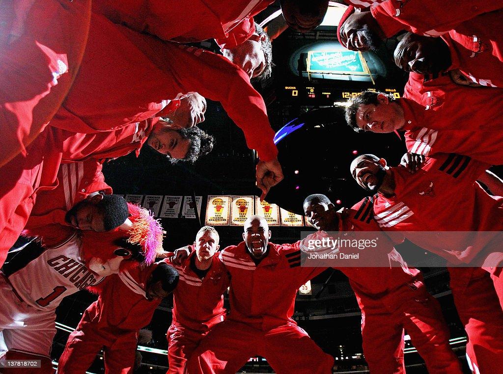 Members of the Chicago Bulls including Kyle Korver Derrick Rose Joakim Noah CJ Watson John Lucas III Brian Scalabrine Taj Gibson Jimmy Butler Carlos...