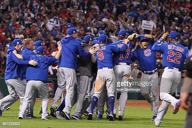Members of the Chicago Cubs celebrate after winning game 7 of the 2016 World Series against the Chicago Cubs and the Cleveland Indians at Progressive...