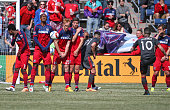 Members of the Chicago Fire block a penalty kick by Sebastian Giovinco of Toronto FC during an MLS match at Toyota Park on April 4 2015 in Bridgeview...