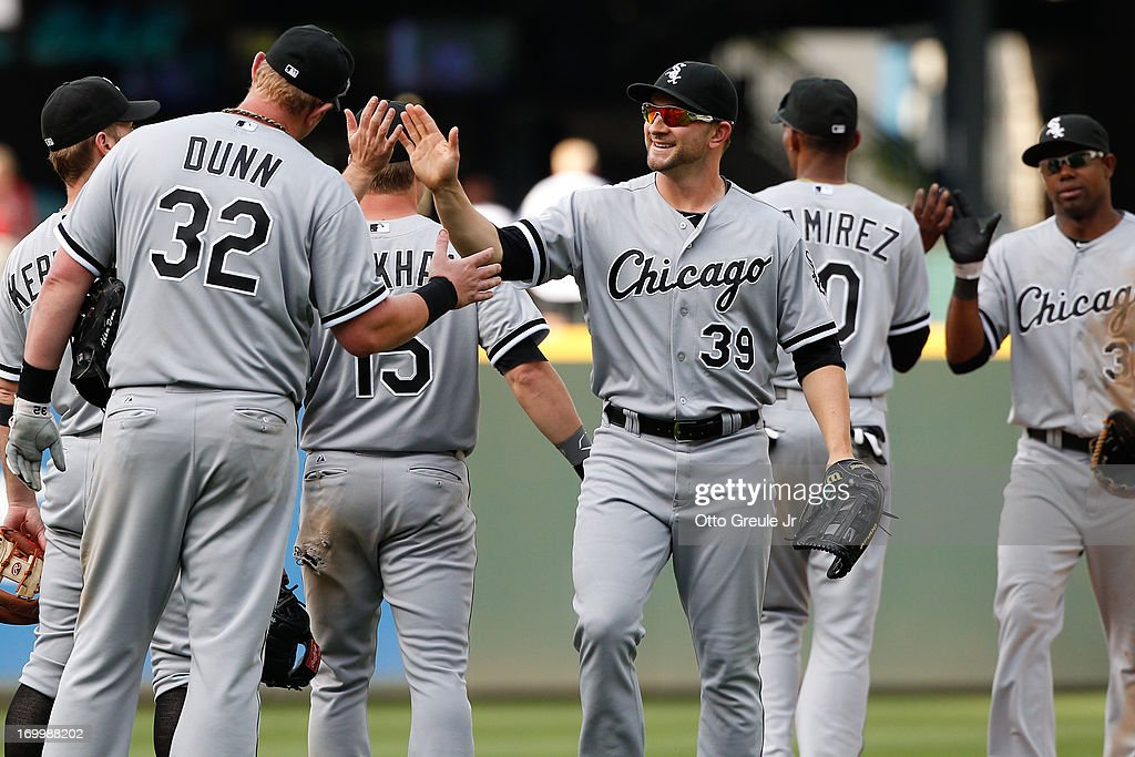 Members of the Chicago White Sox celebrate after defeating the Seattle Mariners 7-5 in sixteen innings at Safeco Field on June 5, 2013 in Seattle, Washington.