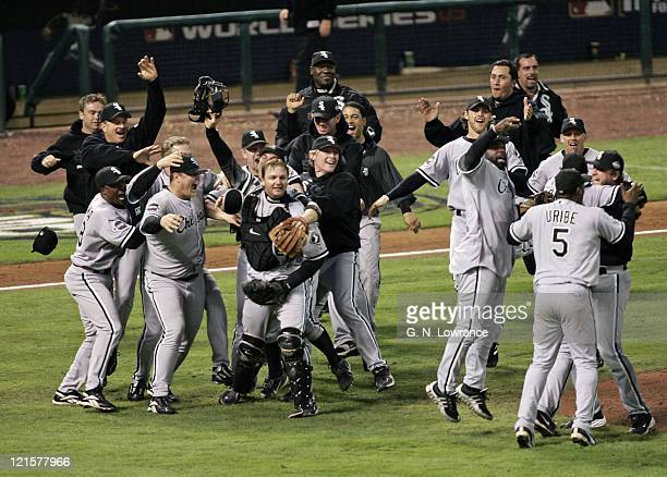 Members of the Chicago White Sox celebrate on the field after winning the 2005 World Series with a 10 win over the Houston Astro's at Minute Maid...
