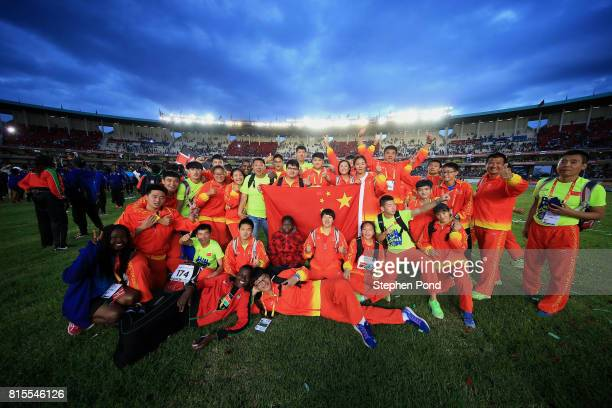 Members of the China team take part in the closing ceremony during day five of the IAAF U18 World Championships on July 16 2017 in Nairobi Kenya