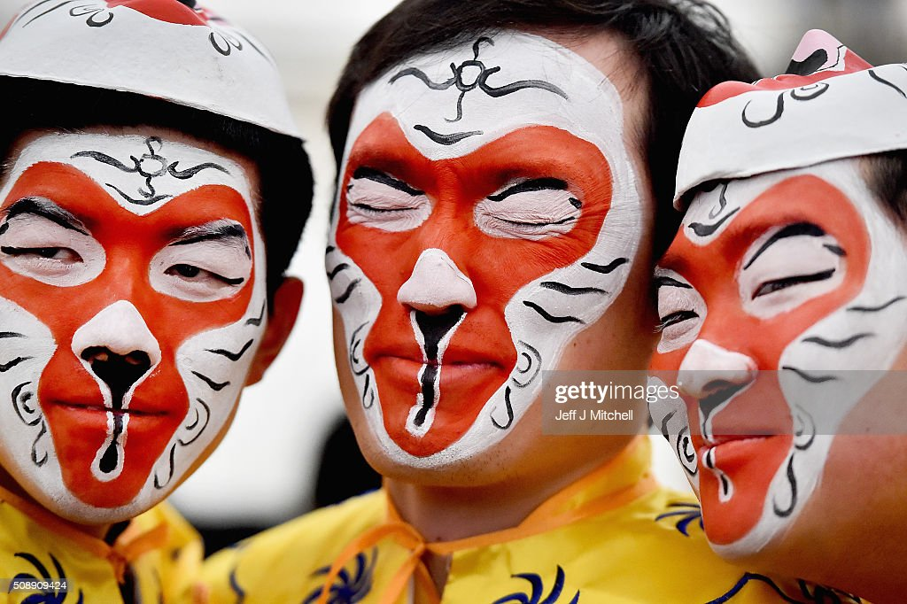 Members of the Chinese community of Glasgow dressed in traditional costumes celebrate The Year of The Monkey on February 7, 2016 in Glasgow, Scotland. The first ever Chinese New Year celebrations to be held in George Square, The Year of the Monkey, begins on February 8 and will last until Jan 27, 2017.