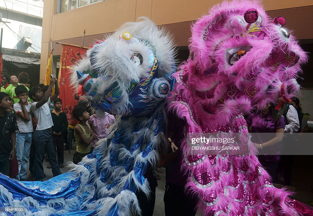 Members of the Chinese community perform a lion dance as they celebrate the Chinese New Year in Kolkata on February 10, 2013. Chinese communities worldwide are welcoming the 'Year of the Snake'. AFP PHOTO/Dibyangshu SARKAR