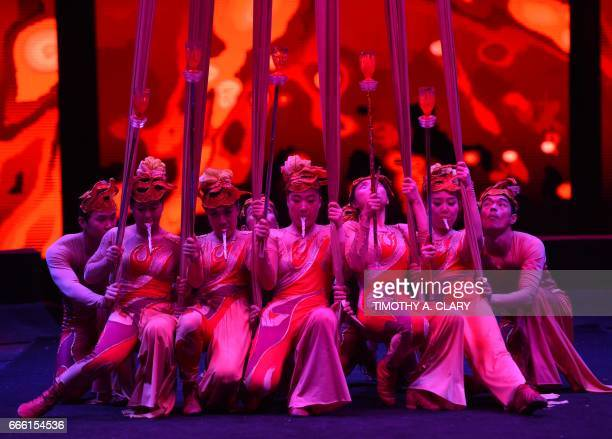 Members of the Chinese Silk Troupe from Shenyang China perform during a show of the UniverSoul Circus at Floyd Bennett Field in Brooklyn New York...